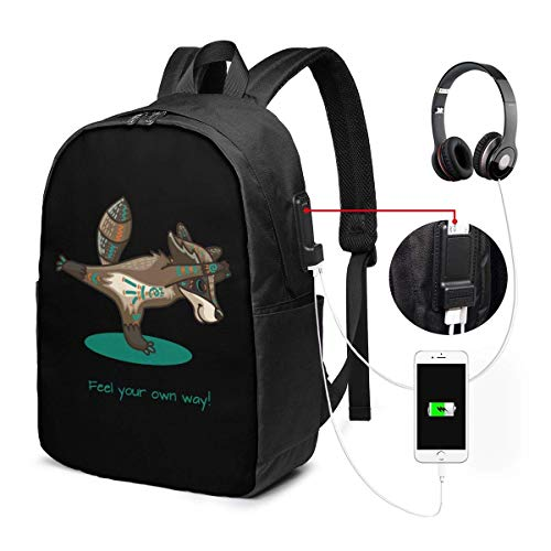 Unisex Rucksack mit USB-Ladeanschluss Tribal Racoon Doing Yoga Classic Fashion General Business Bookbag