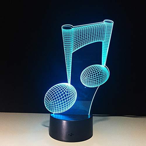7 colores cambiantes 3D notas musicales Lámpara de mesa notas musicales instrumento Decoración para el hogar USB amantes de la música Regalo para niños