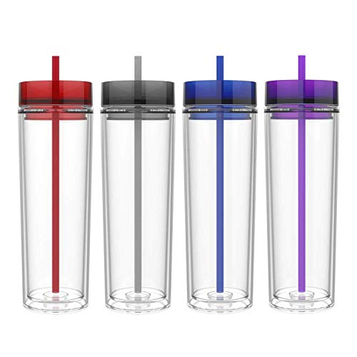 Maars Drinkware Double Wall Insulated Skinny Acrylic Tumblers with Straw and Lid, 16 oz. (4 pack, Royal)