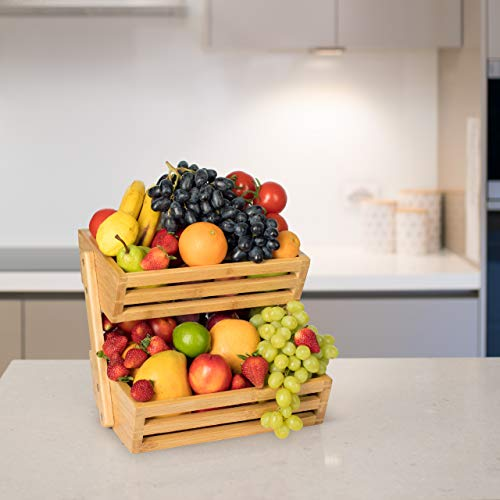 Golden Nature Bamboo Fruit Basket – 2 Tier Fruit Stand for Kitchen Countertop – Fruit Holder For Kitchen – Perfect for Vegetables, Produce, Home Storage and Display