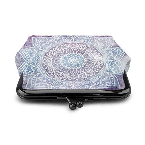 Dunkellila Mandala-Geldbörse aus Leder für Kleingeld, Geldbörse, Kuss-Verschluss, Mini-Kosmetiktasche für Damen und Mädchen
