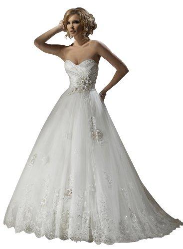 Wedding House Duchesse-Linie BRAUTKLEID Hochzeitskleid Taft Organza Schatz mit Applikationen Deckleisten und Blumen MS130128 (44, Weiß)