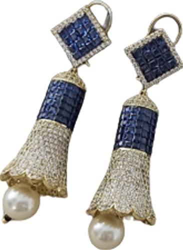 Artesanía con amor un hermoso pendiente azul dorado de calidad premium que combina con cualquier atuendo