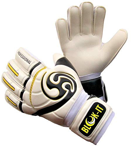 Blok-IT Goalie Gloves. Fingersave Goalkeeper Gloves for Soccer. Kids, Youth & Adult Sizes. Make The Toughest Saves - Extra Protection & Padding. (White & Black, Size 6 = Youth - M)