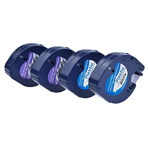 Ersatzband S0721550 S0721530 von SZEHAM Kompatible für Dymo Letratag Transparent 16951 91221 Kunststoff Etikettenband, Schwarz auf Weiß, 12mm x 4m, Band für IT-100T 100H XR XM Beschriftungsgerät