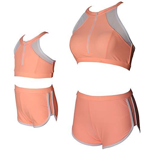 ChayChax Damen Mädchen Bikini Set Rüsche Bademode Mutter Tochter Familie Hohe Taille Badeanzug Zweiteiler Strandkleidung Eltern-Kind, Orange A, L (EU 42-44)
