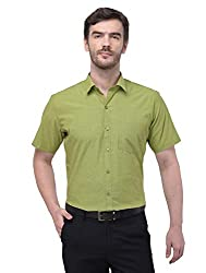 ACCOX Half Sleeves Formal Regular Fit 100% Cotton Solid Plain Shirt for Men