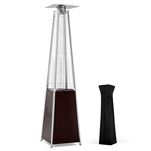 PAMAPIC Patio Heater, 42,000 BTU Quartz Glass Tube Hammered Bronze Tower Gas Outdoor Heater with Cover