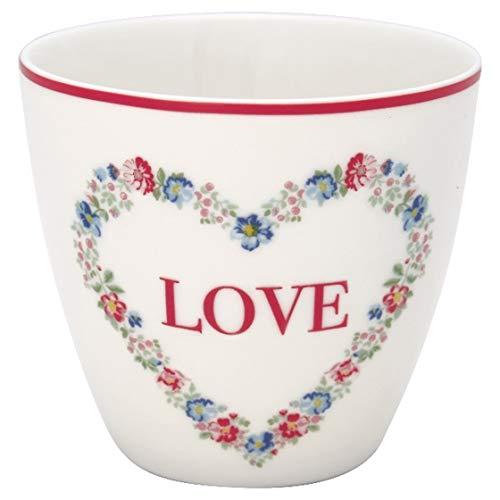 Greengate Becher Latte Cup Heart love white - STWLATHLO0106