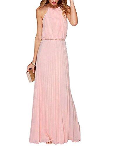 Yigoo Festliche Elegant Kleider Damen Festlich Hochzeit Neckholder Vintage Abendkleid Schulterfrei Cocktailkleid A-Linie Lang Chiffon Rosa L
