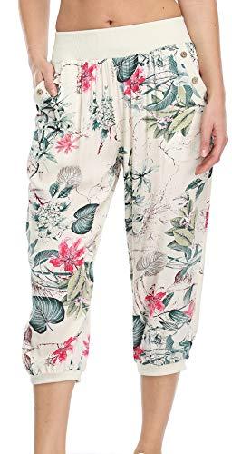 Dilgul Pantalones 3/4 para mujer, verano, casual, yoga, pirata, cintura elástica, con botón, pantalones anchos Estampado albaricoque 44-46
