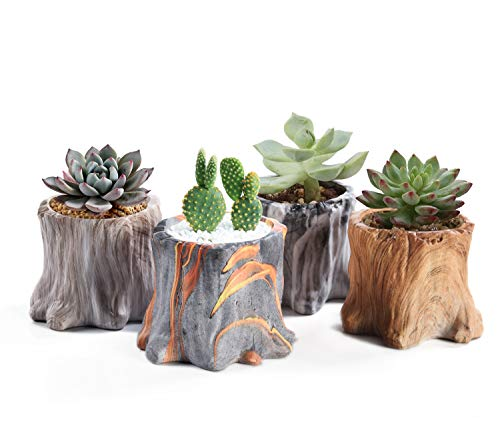 Succulent Planter Pots Small Ceramic Flower Cactus Pots Set 4 Pack Tree Stump Succulent Pots with Drainage Bonsai Pots 4.33 Inch Gift for Home Decor Indoor Outdoor
