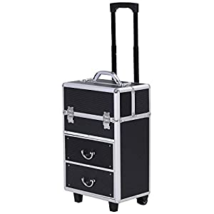 Large Professional MUA Vertical Rolling Full Makeup Travel Train Case – Black
