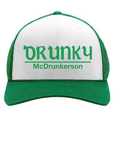 Funny St. Patrick's Day Party Trucker Hat St Patty's Day Mesh Cap One Size Green/White