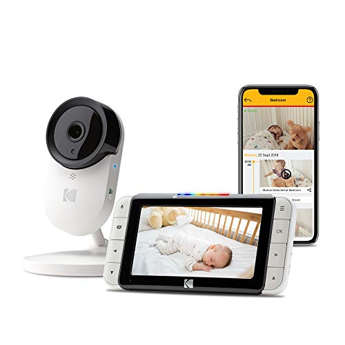 KODAK Cherish C520 Video Baby Monitor with Mobile App - 5 inch HD Screen - Hi-res Baby Camera with Remote Zoom, Two-Way Audio, Night-Vision, Long Range - WiFi Indoor Camera Smart WiFi Baby Monitor