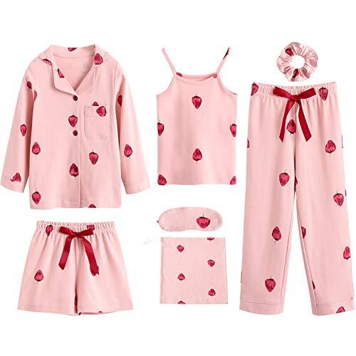 Mud Kingdom Mädchen-Schlafanzug, 7-teilig, bedruckt Gr. 9 Jahre, Erdbeerrosa.