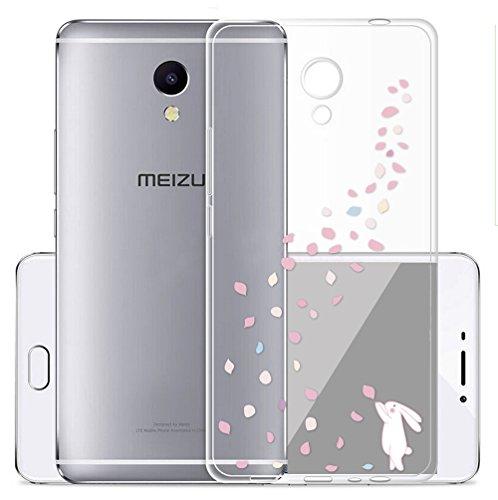 Sunrive Meizu M5S Hülle Silikon, Transparent Handyhülle Schutzhülle Etui Hülle Backcover für Meizu M5S(TPU Hase)+Gratis Universal Eingabestift