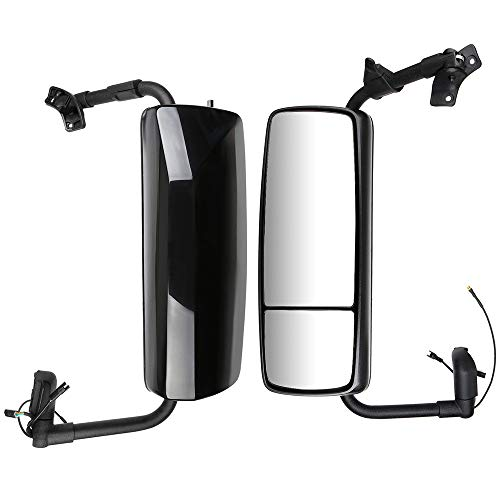 For Sale! ZENITHIKE Truck Tow Mirrors with Driver and Passenger Side Black Housing Truck Hood Mirror...