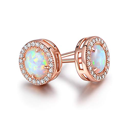 Barzel 18K Rose Gold Plated or White Gold Plated Created Opal Halo Stud (Rose Gold)