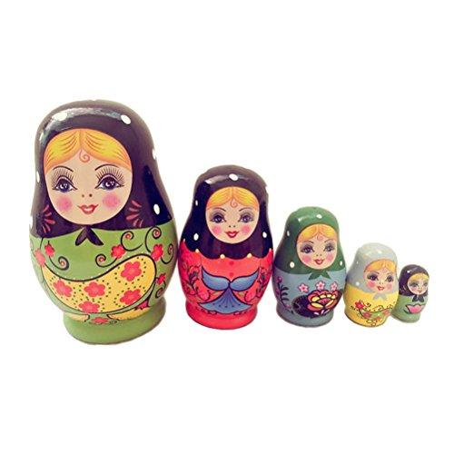 ULTNICE Muñecas Matrioska Rusas Jerarquización Muñecas Madera para Niños 5 piezas