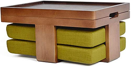 Wttfc Couchtische Antiker Beistelltisch Beistelltisch Massivholz japanische Tee-Tabelle Tatami-Plattform Low Table Kreativ Balkon Erkerfenster Tabelle Kleine Tabelle mit Kissen,Green a
