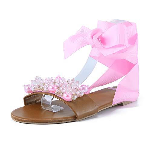 Damen Sandalen mit Strass Slingback Peep Toe Sandalen Bequeme Flache Beach Strandsandale Sommer Outdoor Sandals(1-Pink/Pink,38)