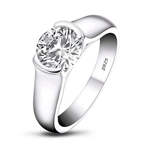 Damenring, 925 Sterling Silber Zirkon Verlobung Ehering,2 Karat runder Jubiläum Hochzeitsschmuck Geschenk-AINUOSHI