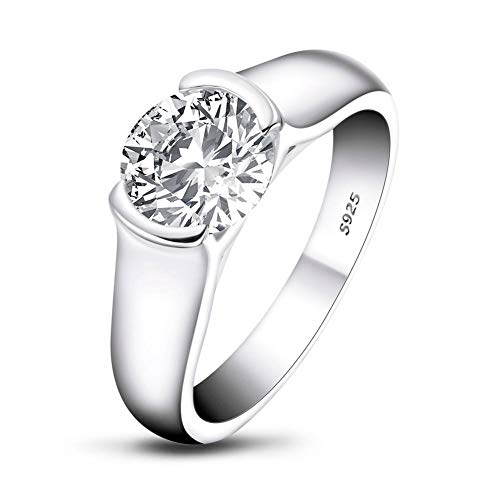 AINUOSHI 925 Sterling Silver 2 Carat Round Cut 8mm Solitaire 5A+ Cubic Zirconia Engagement Ring for Women, CZ Wedding Diamond Ring Size M1/2