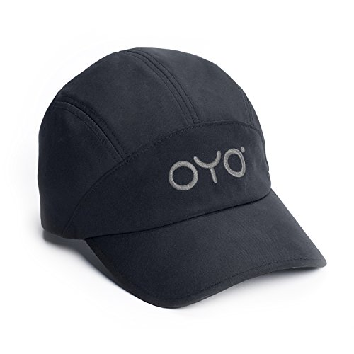 OYO Fitness Sport Cap - Stretch Fit, Quick Dry, Men and Women, Black With Grey Logo