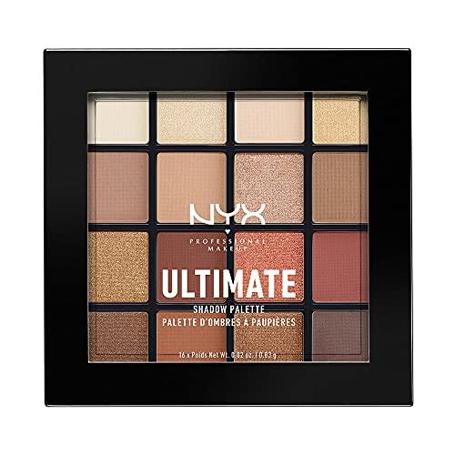 NYX Professional Makeup, Palette Ombretti Ultimate Shadow,Pigmenti Pressati, 16 Tonalità, Effetto Opaco, Satinato, Metallico, Tonalità: Warm Neutrals