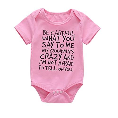 YLWL Cómodo Mameluco para bebés, niños y niñas, Mameluco de Verano de Manga Corta, Estampado de Letras, Mamelucos de algodón Completo para bebés recién Nacidos, Monos