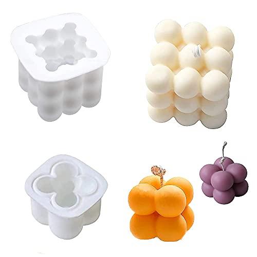 Moldes de Vela de silicona, 2 Piezas 3D Rubiks Cubos Moldes para Fondant, Jabón, Chocolate, Paletas, DIY Hacer Velas Caseras