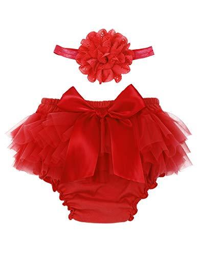 Freebily Neugeborene Baby Mädchen Rüschen Höschen Bloomers Hose Windelabdeckung Rüschenhose mit Stirnband Geburtstag Fotografie Kostüm Rot 0-3 Monate