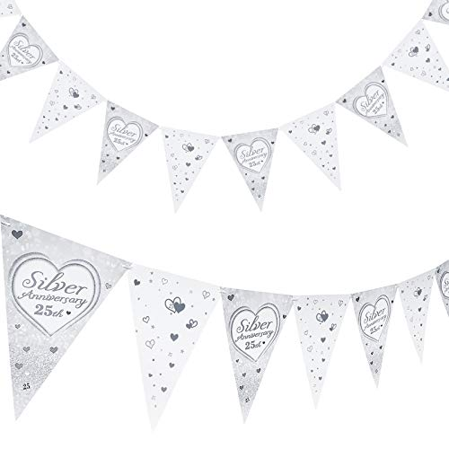 2 Pieces 25th Anniversary Banner 25th Anniversary Triangle Flag Bunting Banner Silver Anniversary Hanging Banner Heart Themed Decorations for 25th Anniversary Valentines Day Party Supplies