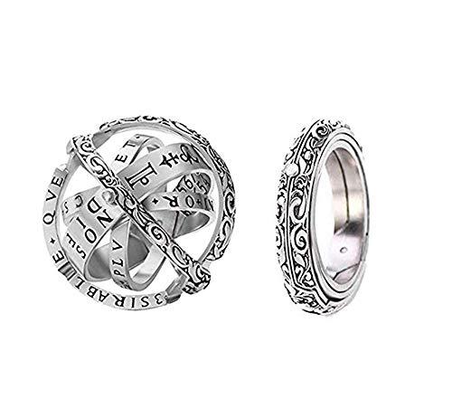 Herren Damen Eheringe Ring Sterling Silber 925 Ringe Retro astronomische Kugel Kugelring zu öffnen Falten Stapeln Ring paar Liebhaber Schmuck (Uraltes Silber, 59 (18.8))