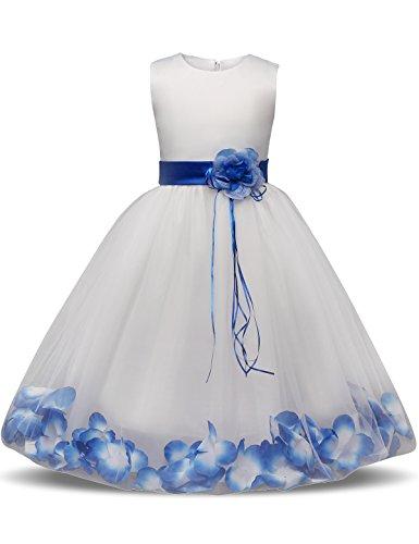 NNJXD Mädchen Tutu Blütenblätter Schleife Brautkleid für Kleinkind Mädchen, Großes Blau, 6-7 Jahre/ Etikettgröße- 140