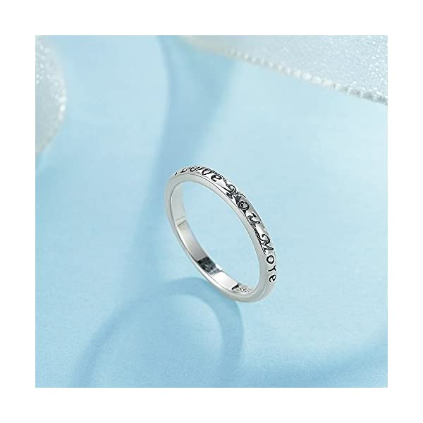 TONGZHE 3mm I Love You More Wedding Band Ring in Antique Sterling Silver 925 with US Size 6-8