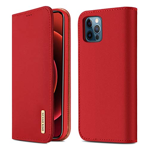 for Apple iPhone 12 Pro Max Case 100% Natural Genuine Leather Skin Phone Case On for iPhone12 Pro Max Flip Wallet Book Cover Red