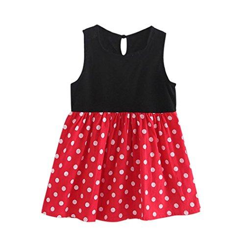 Hirolan Nädchen Kleider Kinder Abendkleider Baby Kinder Mädchen Ärmellos Eins Stück Kleid Punkte Drucken Bowknot Tutu Sommer Kleider Schön Rot Party Sundress (Rot, 100cm)