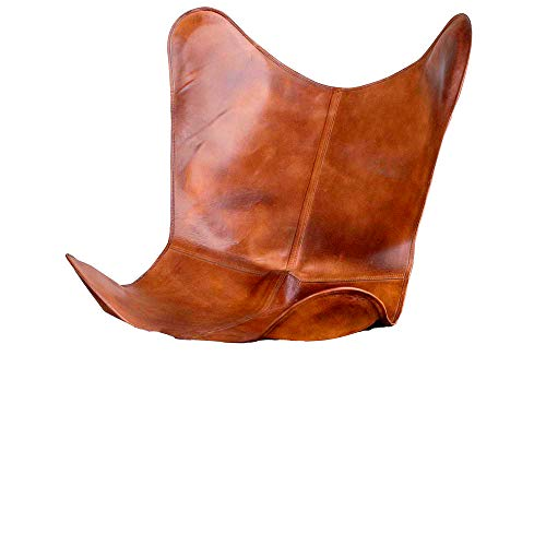 SR Leather Living Room Chairs Cover-Butterfly Chair Brown Cover-Handmade Genuine Leather Cover (Only Cover)