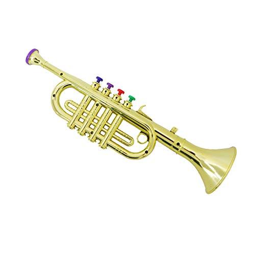 Kinder Kunststoff Trompete Horn Blasinstrument mit drei Tasten - Gold