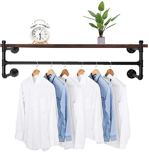 WallMounted Industrial Pipe Clothes Rack Space Saving Commercial Display Garment BarMultiPurpose 4 Base Heavy Duty Detachable Hanging RodHanging Clothes 413#039#039 No Planks Include