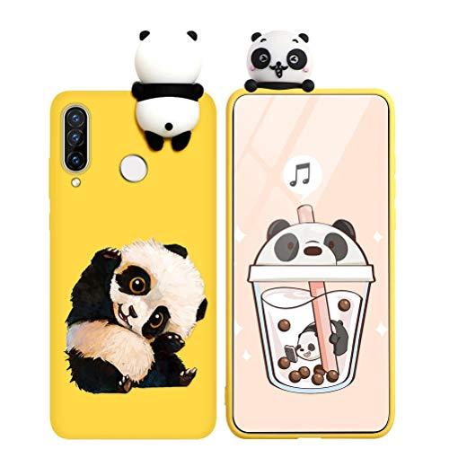 Pnakqil Funda Huawei Y6 2019 Silicona con Dibujos 3D Carcasa Piel Protectora Diseño Kawaii Gel TPU Ultrafina Suave Antigolpes Goma Bumper Case Fundas para Huawei Y6 2019, Amarillo Panda