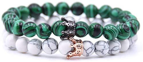 XIAOGING Pulsera de Piedra Mujer, 7 Chakra Natural Green Stripe Piedra Bangle Brazalete Elástico Yoga Energía Lucky Bracelet Joyas de Doble Corona para Damas Regalo de Pareja de Navidad