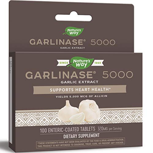 Nature's Way Garlinase 5000; 3.4% Garlic Extract Per Serving; 100 Enteric-Coated Tablets (Packaging May Vary)