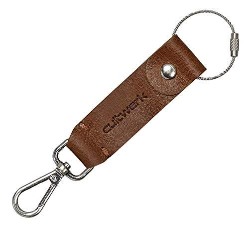 Brown Bear Schlüsselanhänger mit Karabiner-Haken Leder Braun Vintage Used-Look originelle Echtleder Geschenk-Idee für Damen und Herren Hand-Made Cultwerk K-11 br