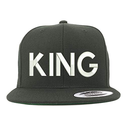Trendy Apparel Shop Flexfit XXL King Embroidered Structured Flatbill Snapback Cap - Charcoal