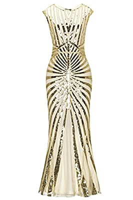 Metme Women's 1920s Flapper Fringe Beaded Great Gatsby Wedding Dress