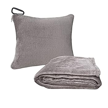 Travel Pillow Blanket for Airplanes Premium Soft 2 in 1 Fleece Travel Blanket with Strap & Backpack Clip Foldable into Mini Small Compact Pillow for Car Seat Travel Foam and Neck Support Gray