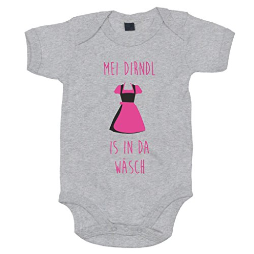 shirtdepartment Baby Body - Mei Dirndl is in da Wäsch, grau-pink, 50-62